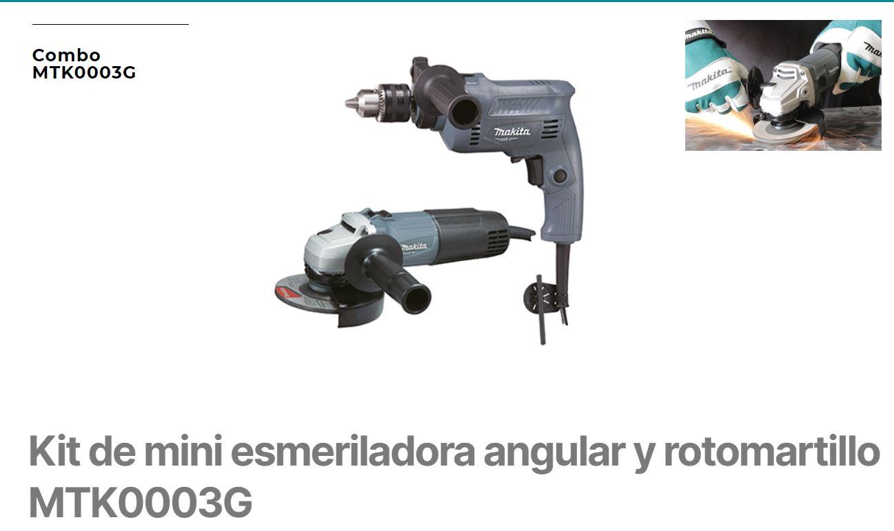 KIT DE MINI ESMERILADORA ANGULAR Y ROTOMARTILLO